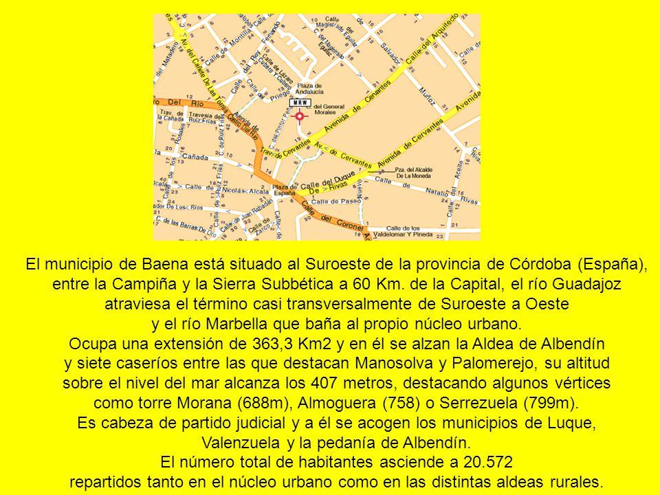 El municipio de Baena está situado al Suroeste de la provincia de Córdoba (España), entre la Campiña y la Sierra Subbética a 60 Km.