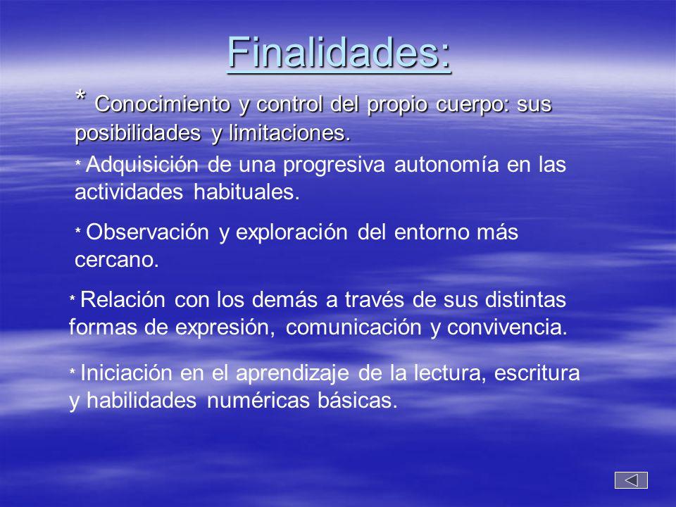 Finalidades: * Conocimiento y control del propio cuerpo: sus posibilidades y limitaciones. * Adquisición de una progresiva autonomía en las actividade