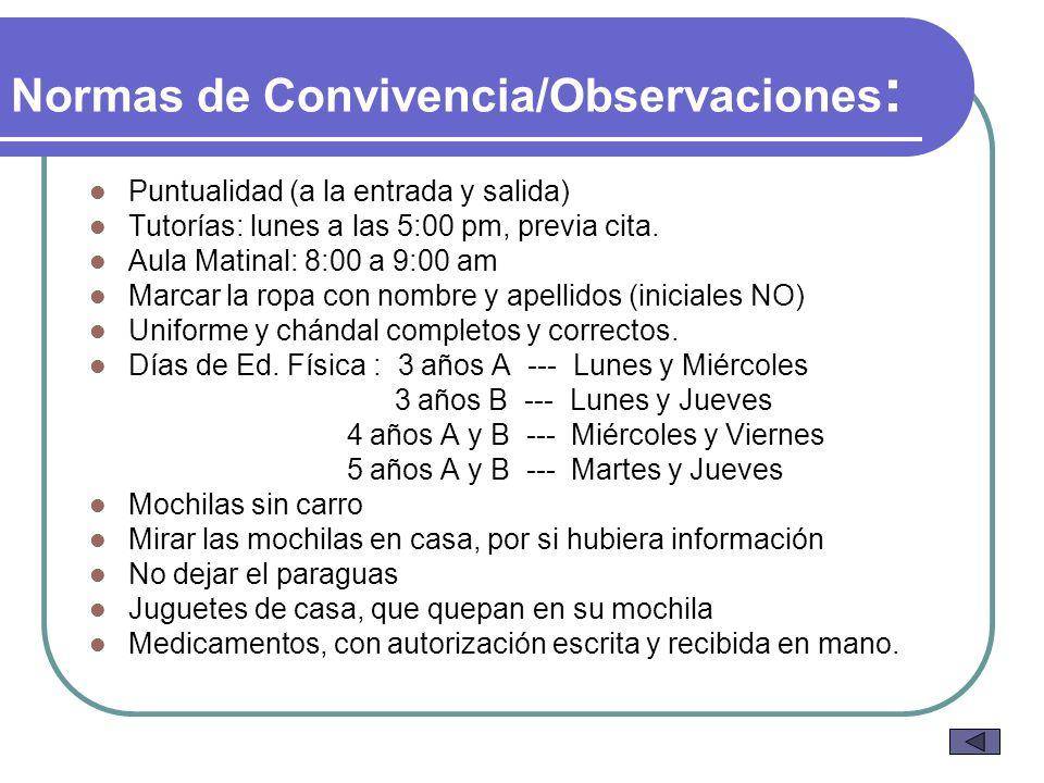 Normas de Convivencia/Observaciones : Puntualidad (a la entrada y salida) Tutorías: lunes a las 5:00 pm, previa cita. Aula Matinal: 8:00 a 9:00 am Mar