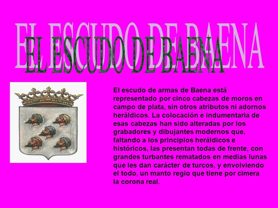 El escudo de armas de Baena está representado por cinco cabezas de moros en campo de plata, sin otros atributos ni adornos heráldicos. La colocación e