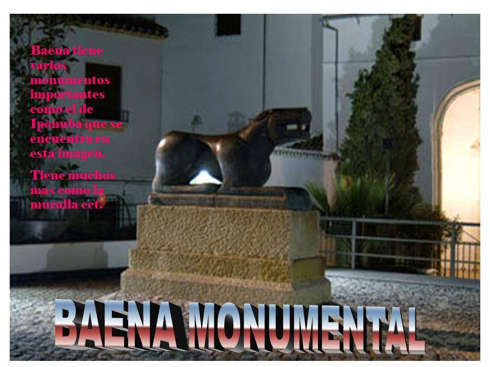 Baena tiene varios monumentos importantes como el de Iponuba que se encuentra en esta imagen. Tiene muchos mas como la muralla ect.