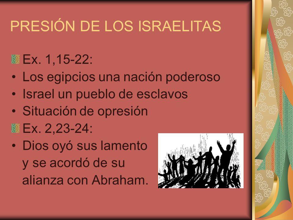 PRESIÓN DE LOS ISRAELITAS Ex. 1,15-22: Los egipcios una nación poderoso Israel un pueblo de esclavos Situación de opresión Ex. 2,23-24: Dios oyó sus l
