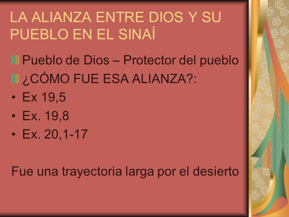 LA ALIANZA ENTRE DIOS Y SU PUEBLO EN EL SINAÍ Pueblo de Dios – Protector del pueblo ¿CÓMO FUE ESA ALIANZA?: Ex 19,5 Ex. 19,8 Ex. 20,1-17 Fue una traye