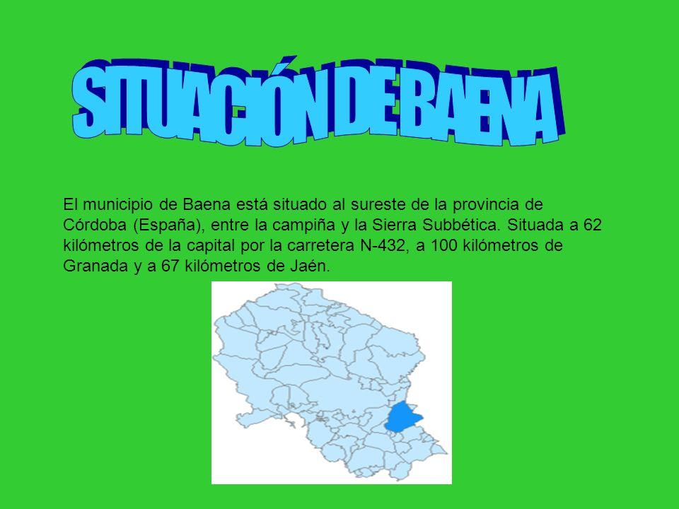 El municipio de Baena está situado al sureste de la provincia de Córdoba (España), entre la campiña y la Sierra Subbética. Situada a 62 kilómetros de