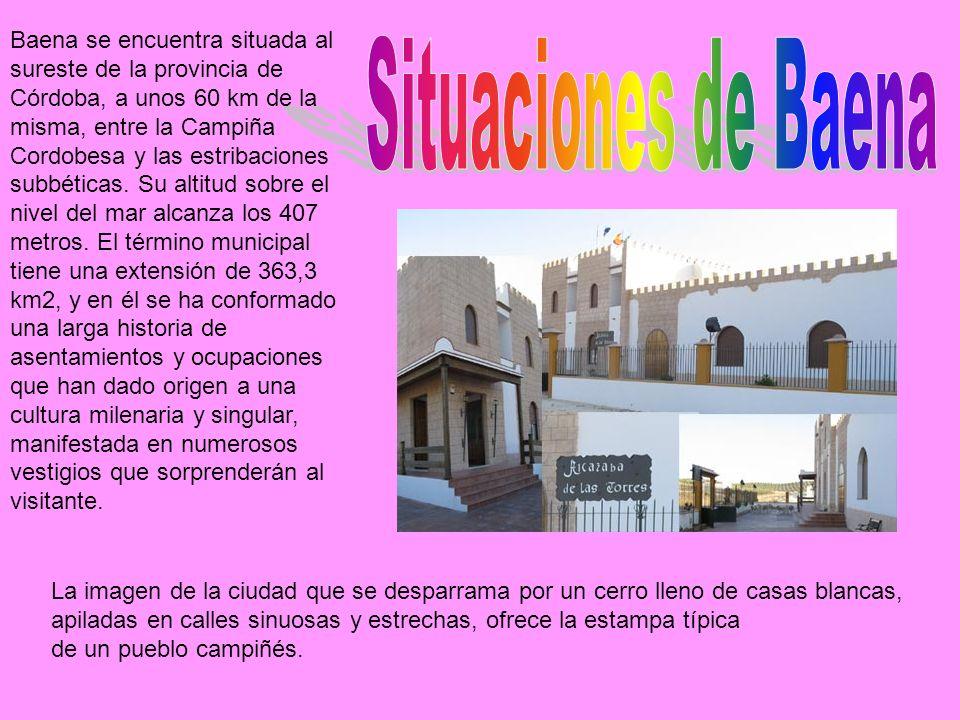 Baena se encuentra situada al sureste de la provincia de Córdoba, a unos 60 km de la misma, entre la Campiña Cordobesa y las estribaciones subbéticas.