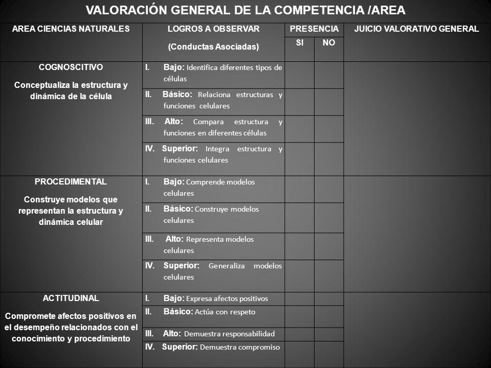 VALORACIÓN GENERAL DE LA COMPETENCIA /AREA AREA CIENCIAS NATURALES LOGROS A OBSERVAR (Conductas Asociadas) PRESENCIAJUICIO VALORATIVO GENERAL SINO COG