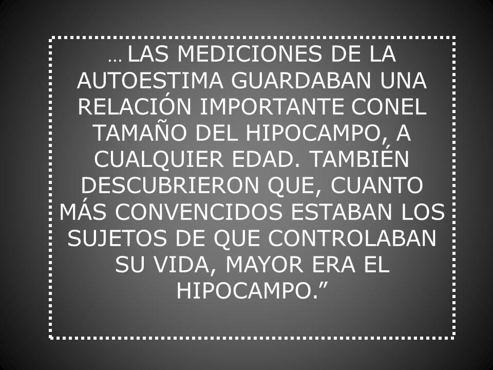... LAS MEDICIONES DE LA AUTOESTIMA GUARDABAN UNA RELACIÓN IMPORTANTE CONEL TAMAÑO DEL HIPOCAMPO, A CUALQUIER EDAD. TAMBIÉN DESCUBRIERON QUE, CUANTO M