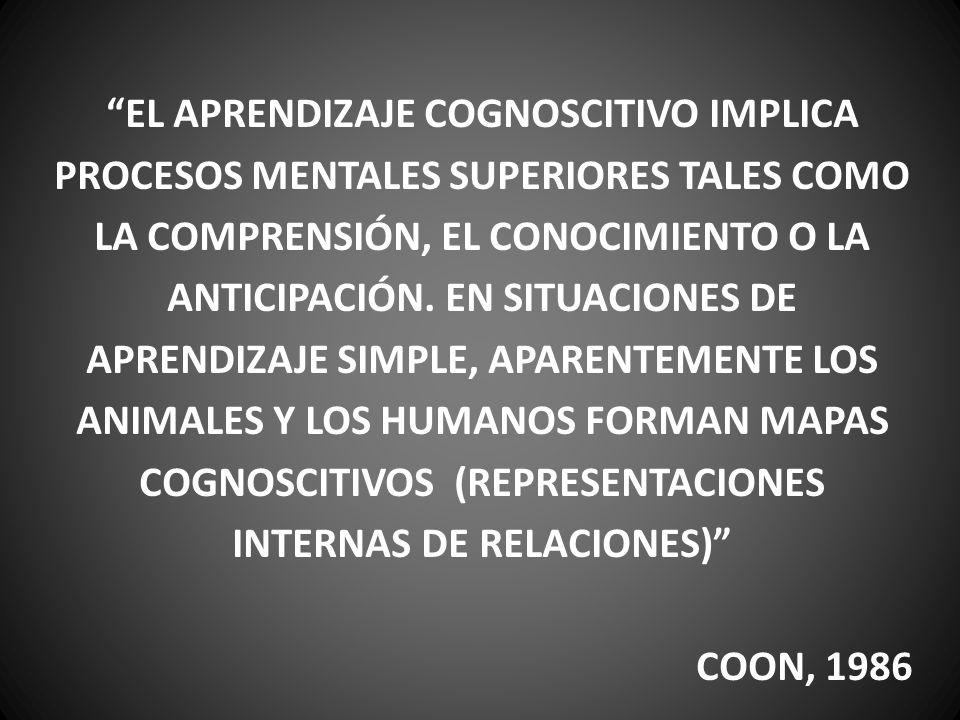 EL APRENDIZAJE COGNOSCITIVO IMPLICA PROCESOS MENTALES SUPERIORES TALES COMO LA COMPRENSIÓN, EL CONOCIMIENTO O LA ANTICIPACIÓN. EN SITUACIONES DE APREN