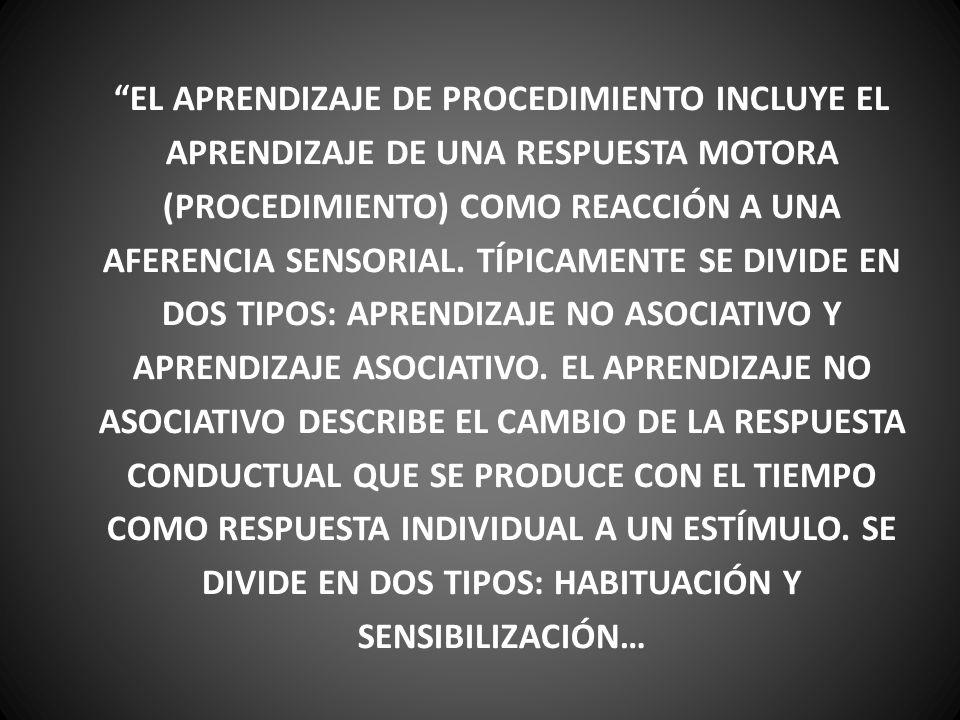 EL APRENDIZAJE DE PROCEDIMIENTO INCLUYE EL APRENDIZAJE DE UNA RESPUESTA MOTORA (PROCEDIMIENTO) COMO REACCIÓN A UNA AFERENCIA SENSORIAL. TÍPICAMENTE SE