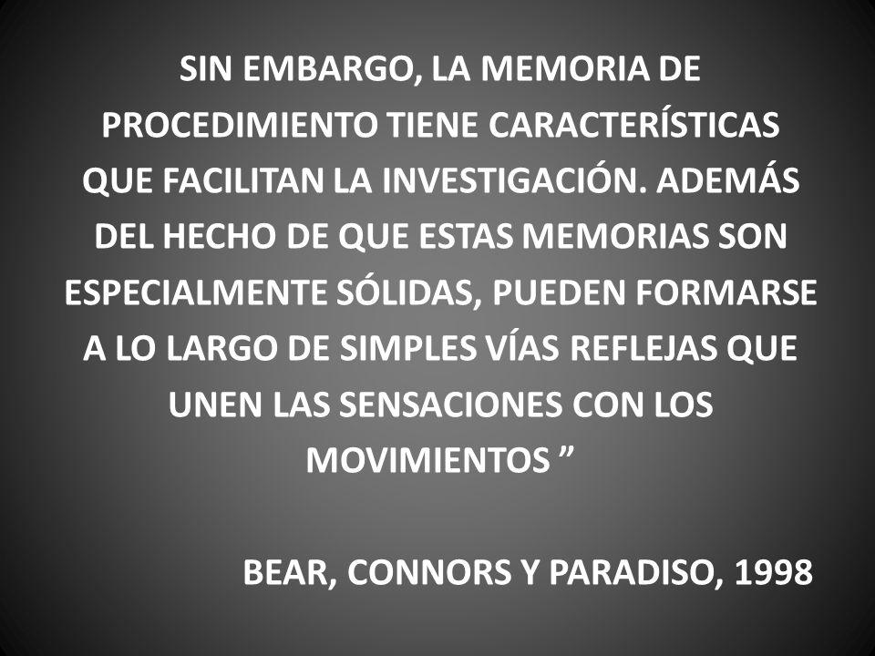 SIN EMBARGO, LA MEMORIA DE PROCEDIMIENTO TIENE CARACTERÍSTICAS QUE FACILITAN LA INVESTIGACIÓN. ADEMÁS DEL HECHO DE QUE ESTAS MEMORIAS SON ESPECIALMENT