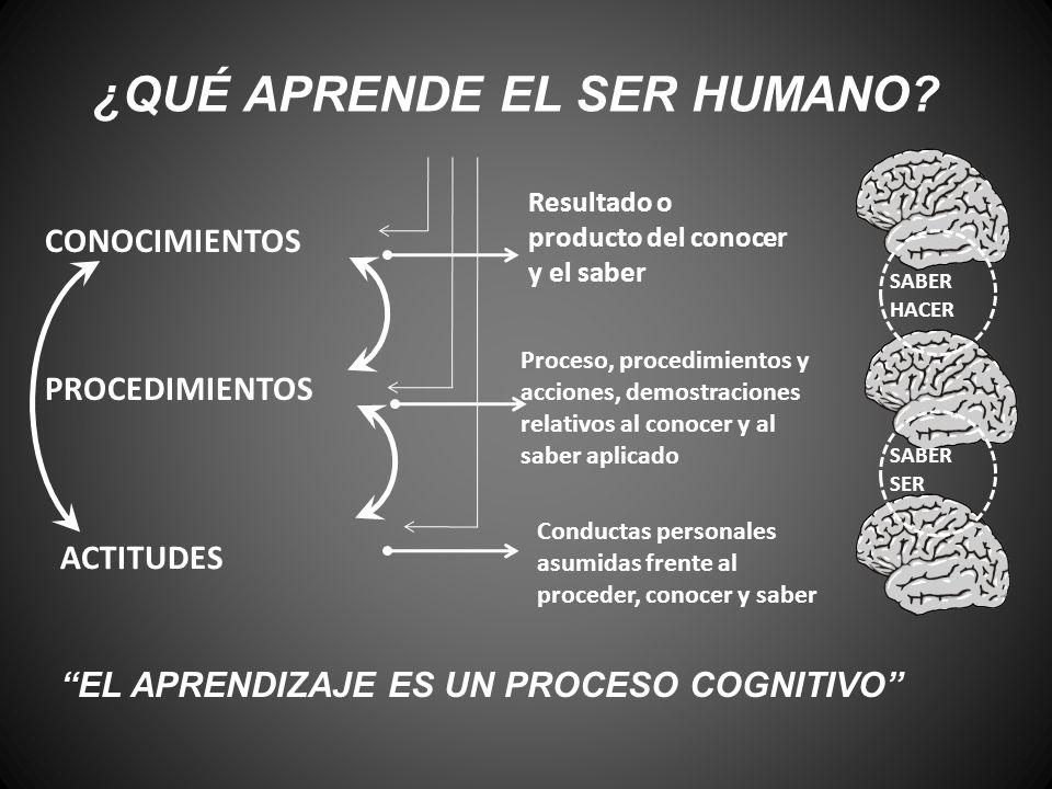 ¿QUÉ APRENDE EL SER HUMANO? CONOCIMIENTOS PROCEDIMIENTOS ACTITUDES Resultado o producto del conocer y el saber Proceso, procedimientos y acciones, dem