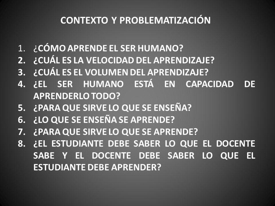 CONTEXTO Y PROBLEMATIZACIÓN 1.¿CÓMO APRENDE EL SER HUMANO? 2.¿CUÁL ES LA VELOCIDAD DEL APRENDIZAJE? 3.¿CUÁL ES EL VOLUMEN DEL APRENDIZAJE? 4.¿EL SER H