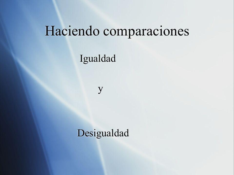 Haciendo comparaciones Igualdad y Desigualdad Igualdad y Desigualdad