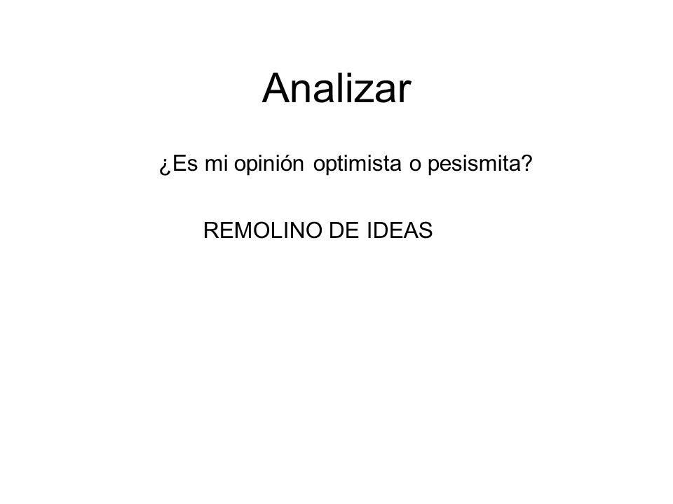 Analizar ¿Es mi opinión optimista o pesismita REMOLINO DE IDEAS