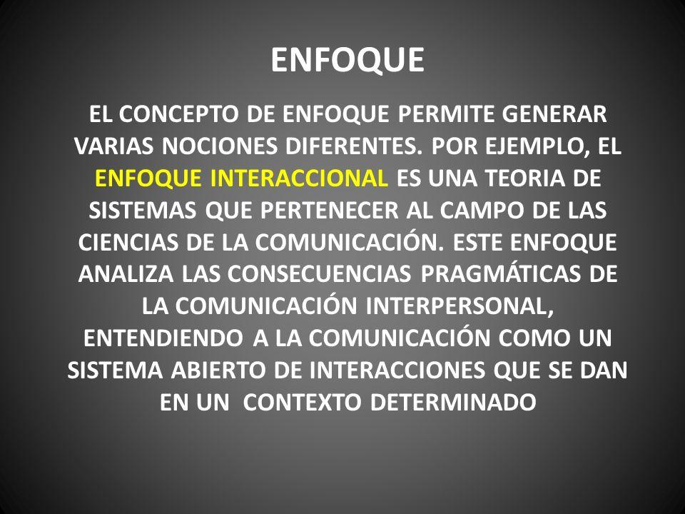 ENFOQUE EL ENFOQUE INTERACCIONAL SE BASA EN TRES PRINCIPIOS: EL PRINCIPIO DE TOTALIDAD (CUALQUIER MODIFICACIÓN EN UNA PARTE DEL SISTEMA AFECTA TAMBIÉN AL RESTO DE LAS PARTES, MODIFICANDO EL TODO), EL PRINCIPIO DE CAUSALIDAD CIRCULAR (RELACIONES COMPLEJAS DE IMPLICACIONES MUTUAS, ACCIONES Y RETROACCIONES ENVUELTAS EN UN CICLO COMUNICACIONAL) Y EL PRINCIPIO DE REGULACIÓN (TODO ACTO COMUNICATIVO DEBE OBEDECER A CIERTAS NORMAS, REGLAS Y CONVENIENCIAS).