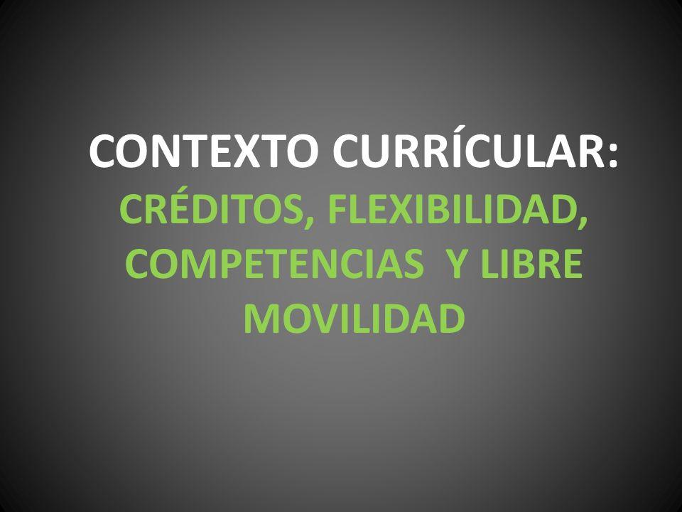 CONTEXTO CURRÍCULAR: CRÉDITOS, FLEXIBILIDAD, COMPETENCIAS Y LIBRE MOVILIDAD