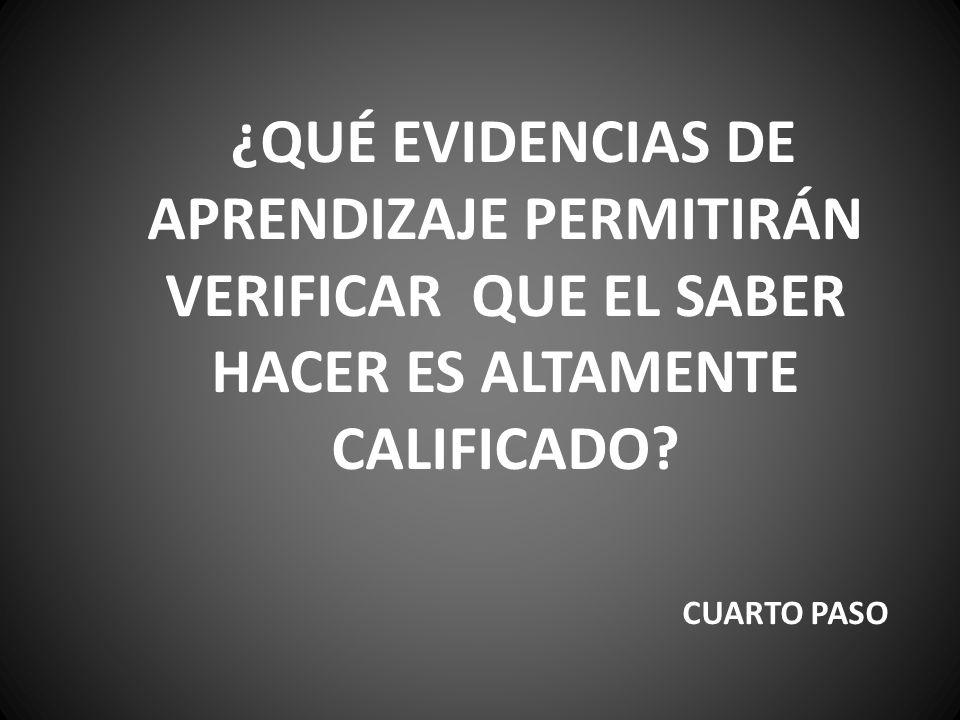 ¿QUÉ EVIDENCIAS DE APRENDIZAJE PERMITIRÁN VERIFICAR QUE EL SABER HACER ES ALTAMENTE CALIFICADO.