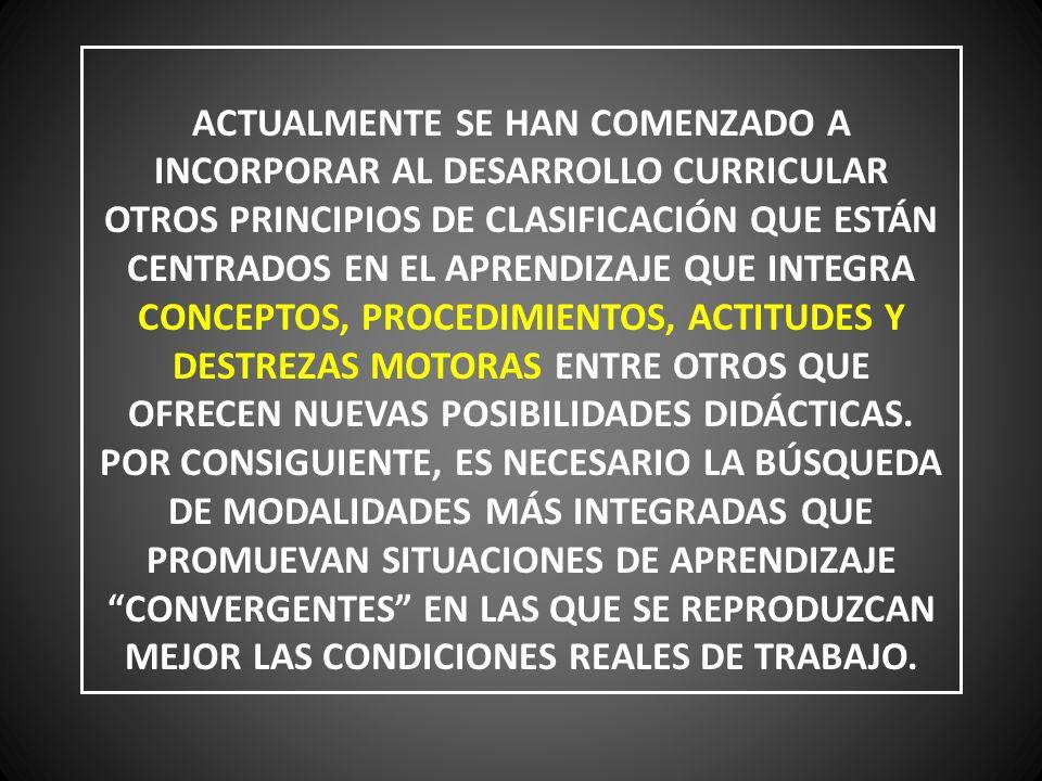 ACTUALMENTE SE HAN COMENZADO A INCORPORAR AL DESARROLLO CURRICULAR OTROS PRINCIPIOS DE CLASIFICACIÓN QUE ESTÁN CENTRADOS EN EL APRENDIZAJE QUE INTEGRA CONCEPTOS, PROCEDIMIENTOS, ACTITUDES Y DESTREZAS MOTORAS ENTRE OTROS QUE OFRECEN NUEVAS POSIBILIDADES DIDÁCTICAS.