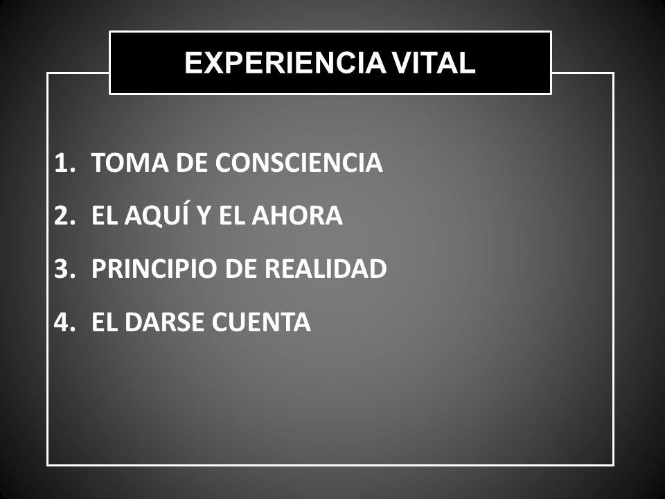 1.TOMA DE CONSCIENCIA 2.EL AQUÍ Y EL AHORA 3.PRINCIPIO DE REALIDAD 4.EL DARSE CUENTA EXPERIENCIA VITAL