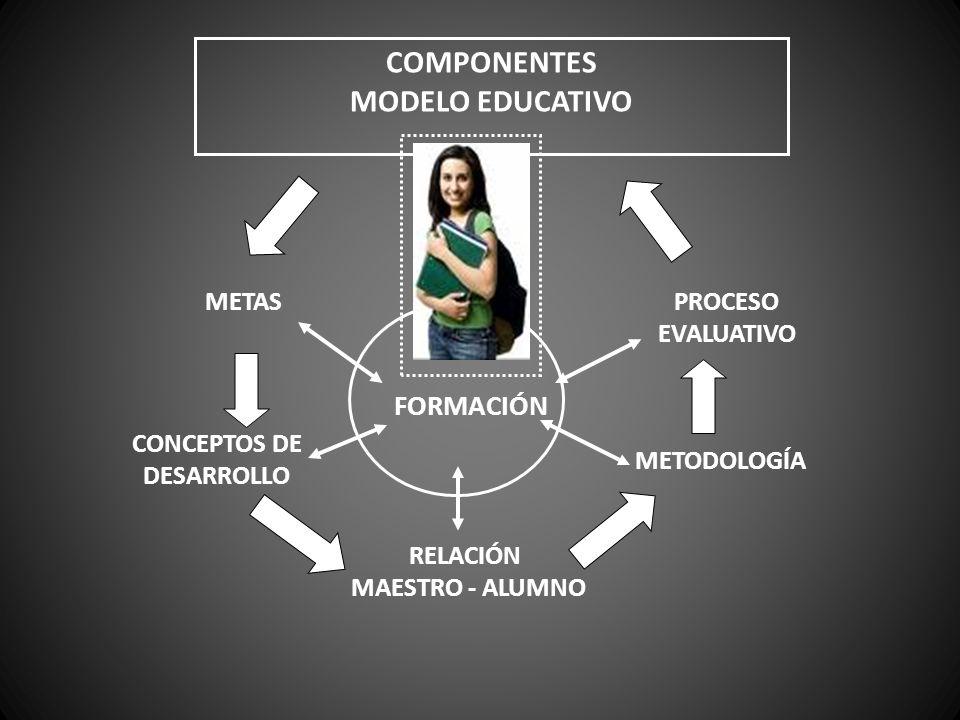 FORMACIÓN COMPONENTES MODELO EDUCATIVO METASPROCESO EVALUATIVO RELACIÓN MAESTRO - ALUMNO METODOLOGÍA CONCEPTOS DE DESARROLLO