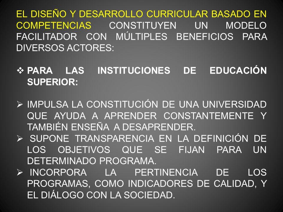 EL DISEÑO Y DESARROLLO CURRICULAR BASADO EN COMPETENCIAS CONSTITUYEN UN MODELO FACILITADOR CON MÚLTIPLES BENEFICIOS PARA DIVERSOS ACTORES: PARA LAS INSTITUCIONES DE EDUCACIÓN SUPERIOR: IMPULSA LA CONSTITUCIÓN DE UNA UNIVERSIDAD QUE AYUDA A APRENDER CONSTANTEMENTE Y TAMBIÉN ENSEÑA A DESAPRENDER.