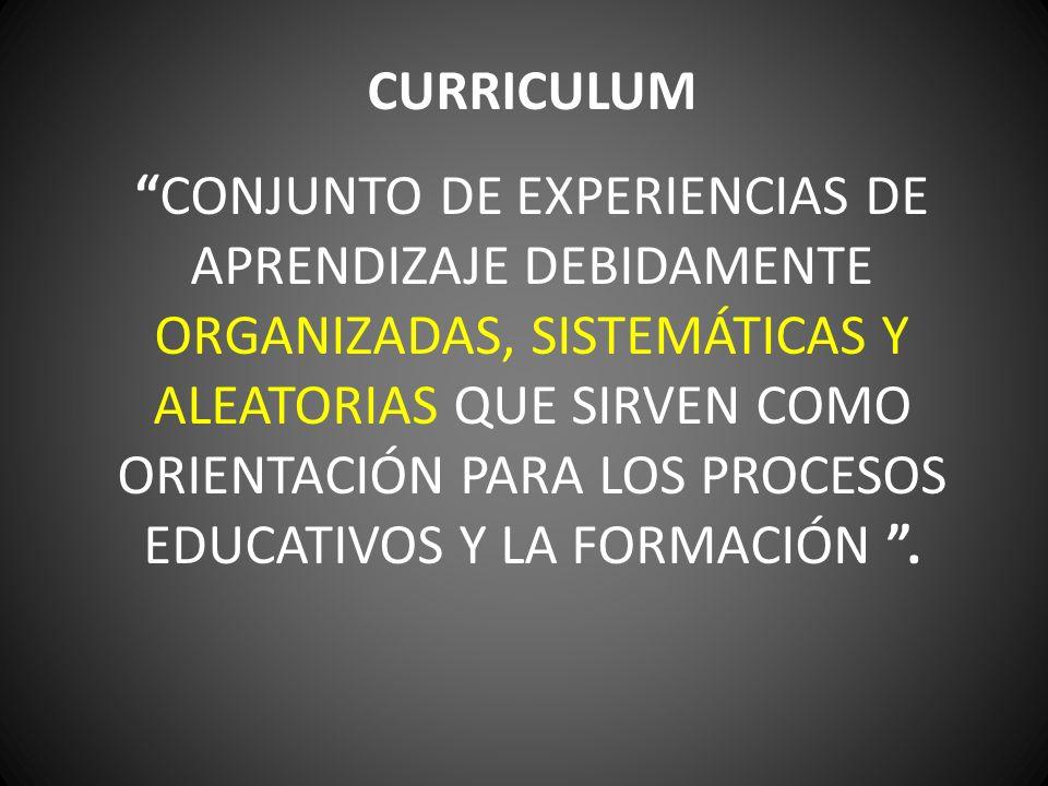 CURRICULUM CONJUNTO DE EXPERIENCIAS DE APRENDIZAJE DEBIDAMENTE ORGANIZADAS, SISTEMÁTICAS Y ALEATORIAS QUE SIRVEN COMO ORIENTACIÓN PARA LOS PROCESOS EDUCATIVOS Y LA FORMACIÓN.