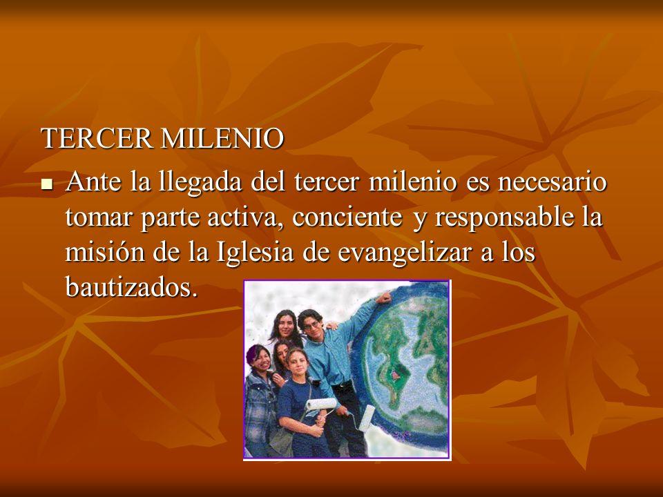 TERCER MILENIO Ante la llegada del tercer milenio es necesario tomar parte activa, conciente y responsable la misión de la Iglesia de evangelizar a lo