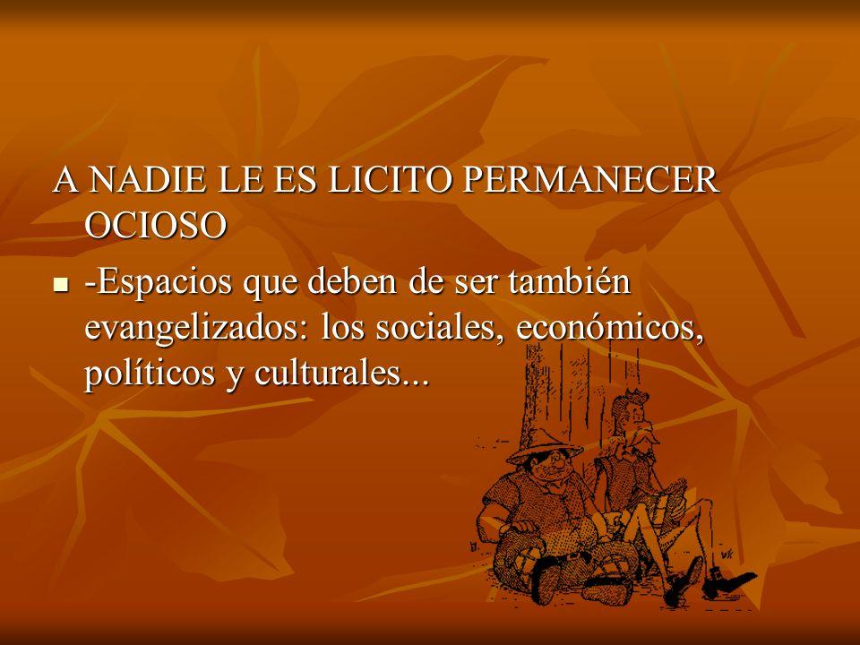 A NADIE LE ES LICITO PERMANECER OCIOSO -Espacios que deben de ser también evangelizados: los sociales, económicos, políticos y culturales... -Espacios