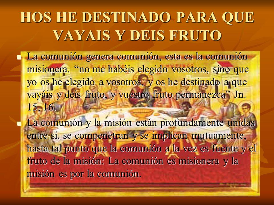 HOS HE DESTINADO PARA QUE VAYAIS Y DEIS FRUTO La comunión genera comunión, esta es la comunión misionera. no me habéis elegido vosotros, sino que yo o