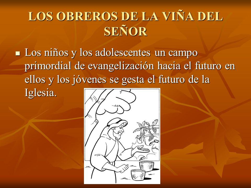 LOS OBREROS DE LA VIÑA DEL SEÑOR Los niños y los adolescentes un campo primordial de evangelización hacia el futuro en ellos y los jóvenes se gesta el