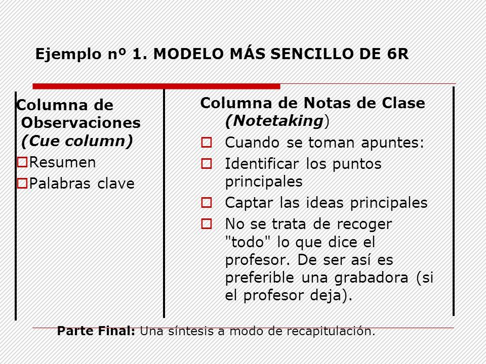 Ejemplo nº 1. MODELO MÁS SENCILLO DE 6R Columna de Observaciones (Cue column) Resumen Palabras clave Columna de Notas de Clase (Notetaking) Cuando se