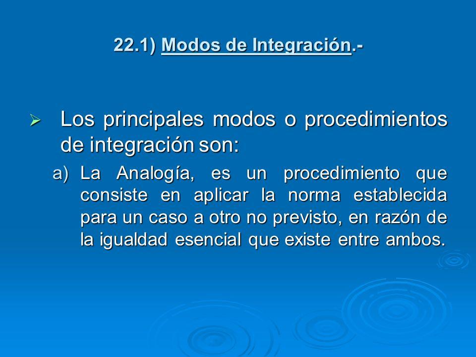 22.1) Modos de Integración.- Los principales modos o procedimientos de integración son: Los principales modos o procedimientos de integración son: a)L