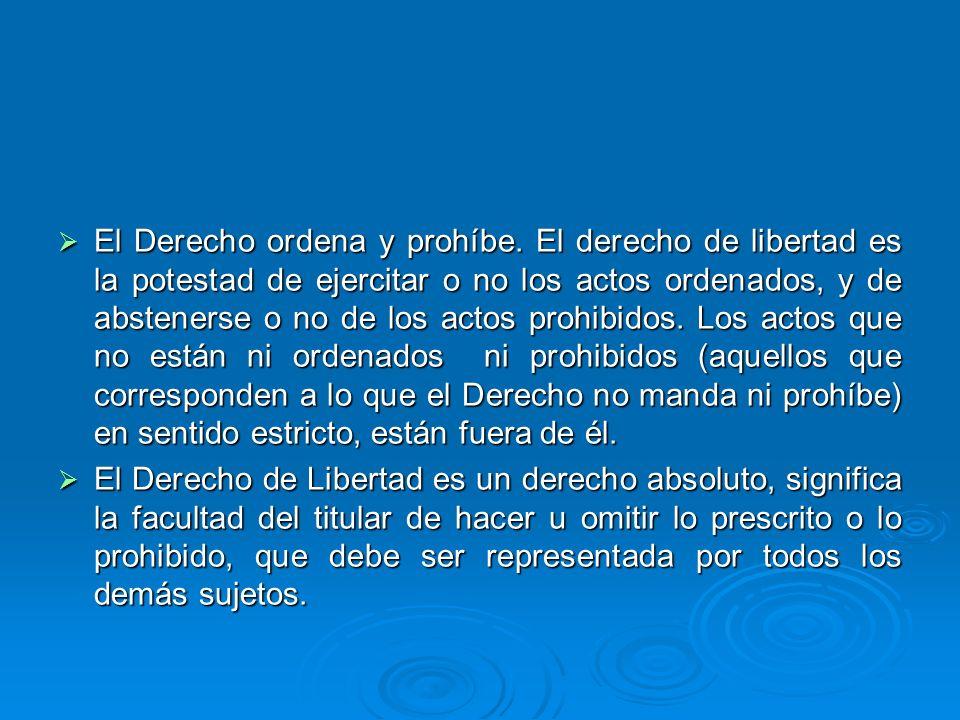 El Derecho ordena y prohíbe. El derecho de libertad es la potestad de ejercitar o no los actos ordenados, y de abstenerse o no de los actos prohibidos
