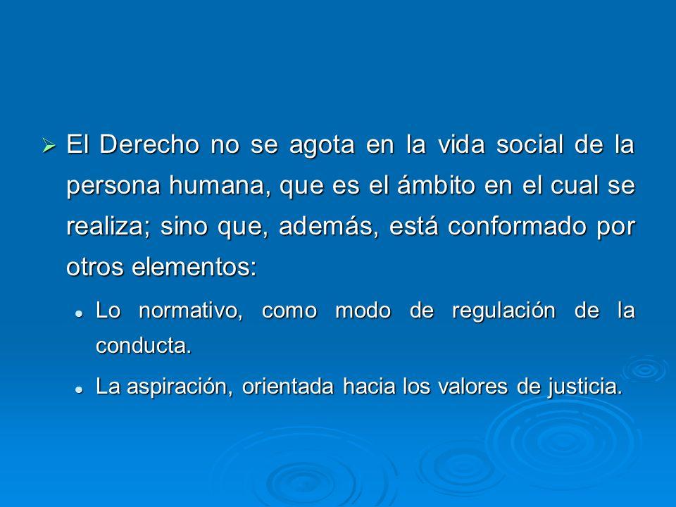 El Derecho no se agota en la vida social de la persona humana, que es el ámbito en el cual se realiza; sino que, además, está conformado por otros ele