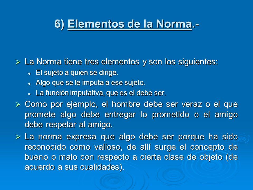 6) Elementos de la Norma.- La Norma tiene tres elementos y son los siguientes: La Norma tiene tres elementos y son los siguientes: El sujeto a quien s