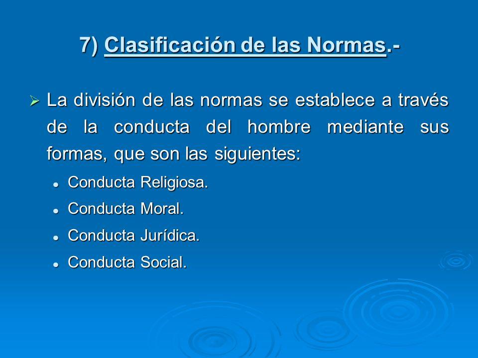 7) Clasificación de las Normas.- La división de las normas se establece a través de la conducta del hombre mediante sus formas, que son las siguientes