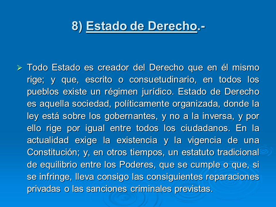 8) Estado de Derecho.- Todo Estado es creador del Derecho que en él mismo rige; y que, escrito o consuetudinario, en todos los pueblos existe un régim