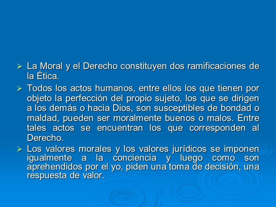 La Moral y el Derecho constituyen dos ramificaciones de la Ética. La Moral y el Derecho constituyen dos ramificaciones de la Ética. Todos los actos hu