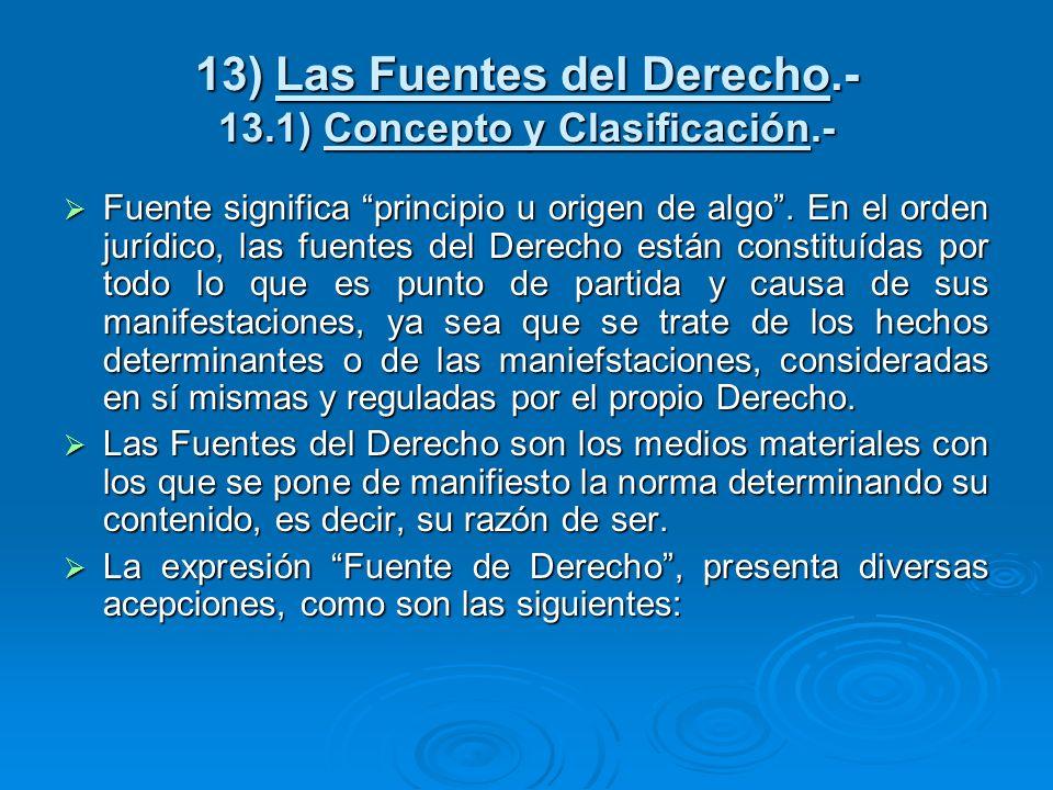 13) Las Fuentes del Derecho.- 13.1) Concepto y Clasificación.- Fuente significa principio u origen de algo. En el orden jurídico, las fuentes del Dere