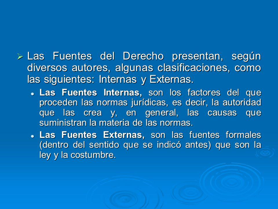 Las Fuentes del Derecho presentan, según diversos autores, algunas clasificaciones, como las siguientes: Internas y Externas. Las Fuentes del Derecho