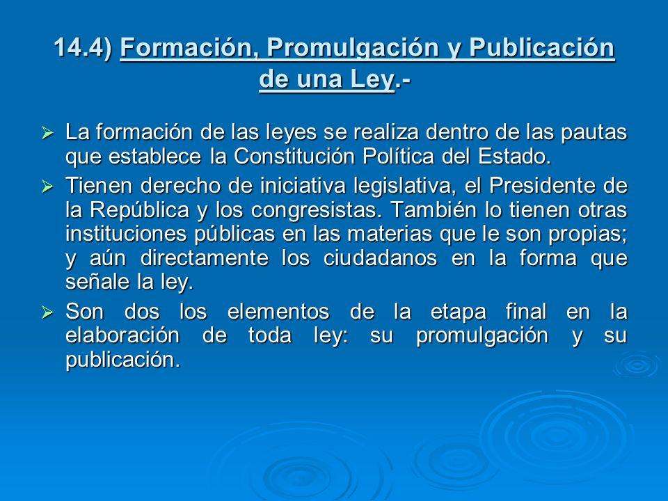 14.4) Formación, Promulgación y Publicación de una Ley.- La formación de las leyes se realiza dentro de las pautas que establece la Constitución Polít