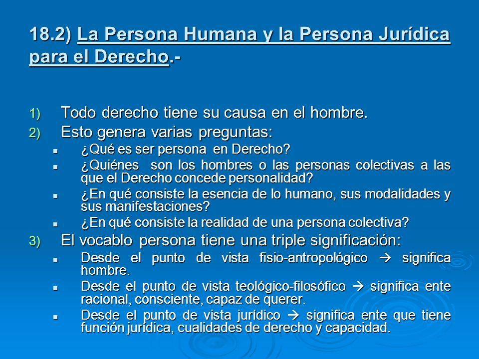 18.2) La Persona Humana y la Persona Jurídica para el Derecho.- 1) Todo derecho tiene su causa en el hombre. 2) Esto genera varias preguntas: ¿Qué es