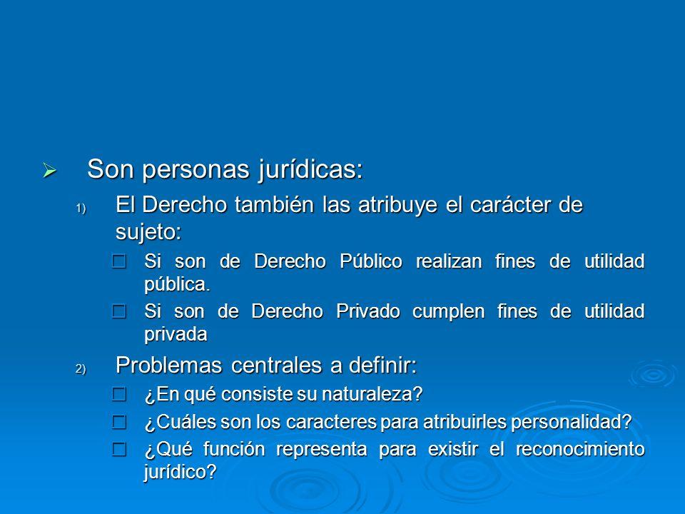 Son personas jurídicas: Son personas jurídicas: 1) El Derecho también las atribuye el carácter de sujeto: Si son de Derecho Público realizan fines de