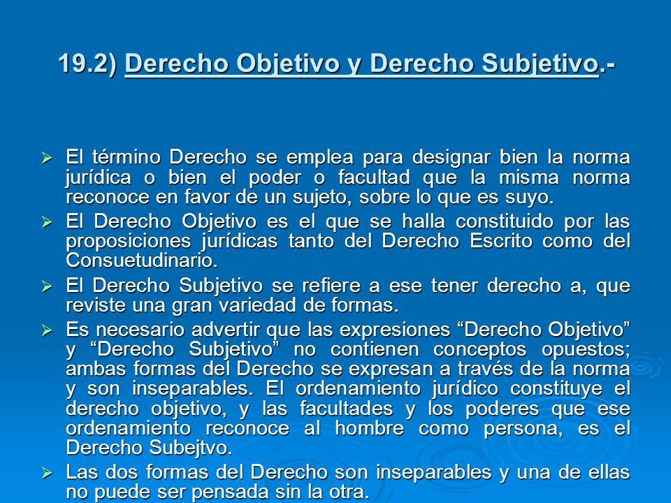 19.2) Derecho Objetivo y Derecho Subjetivo.- El término Derecho se emplea para designar bien la norma jurídica o bien el poder o facultad que la misma