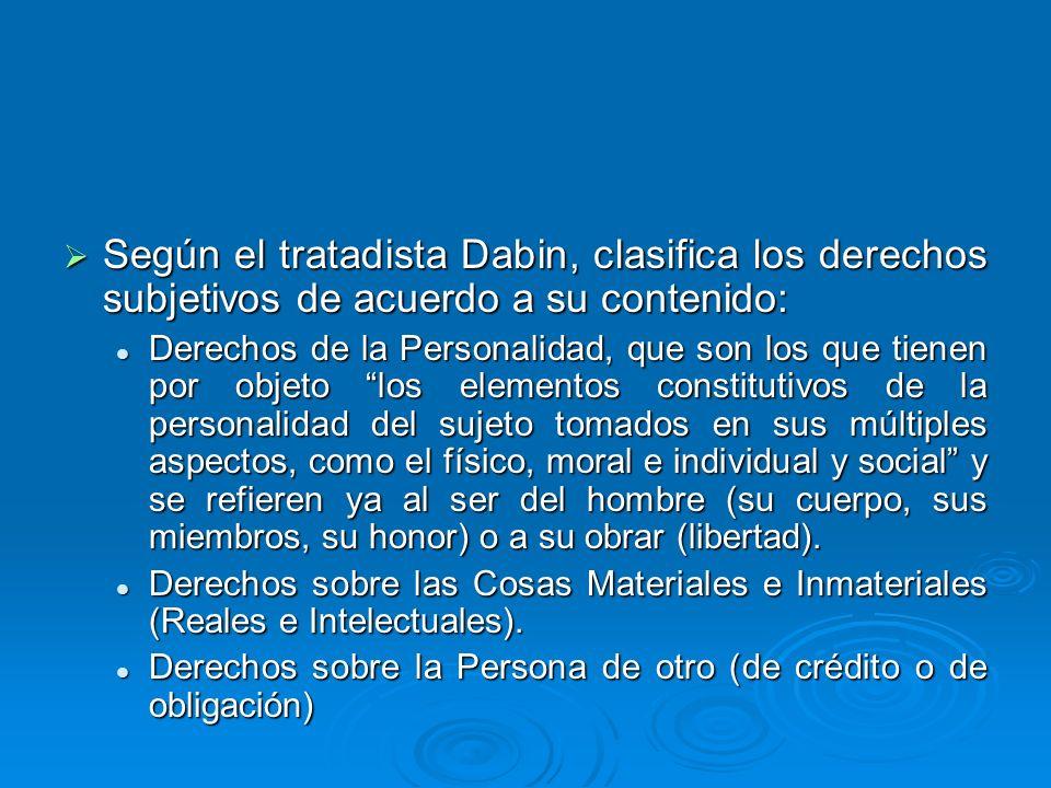 Según el tratadista Dabin, clasifica los derechos subjetivos de acuerdo a su contenido: Según el tratadista Dabin, clasifica los derechos subjetivos d