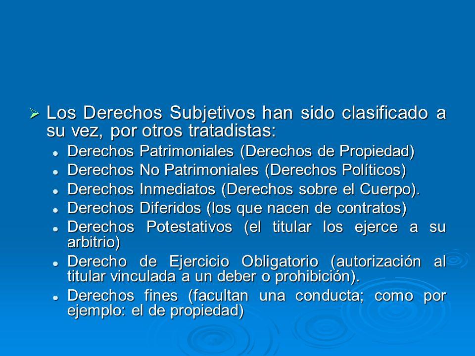 Los Derechos Subjetivos han sido clasificado a su vez, por otros tratadistas: Los Derechos Subjetivos han sido clasificado a su vez, por otros tratadi