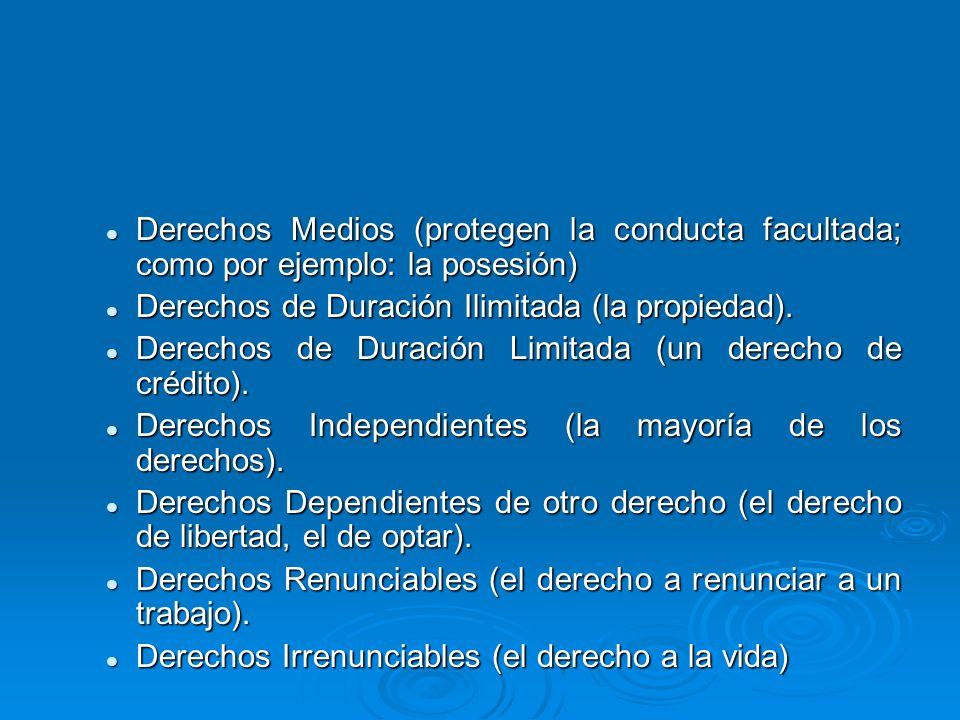Derechos Medios (protegen la conducta facultada; como por ejemplo: la posesión) Derechos Medios (protegen la conducta facultada; como por ejemplo: la