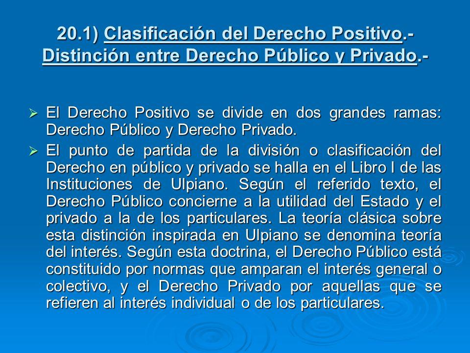 20.1) Clasificación del Derecho Positivo.- Distinción entre Derecho Público y Privado.- El Derecho Positivo se divide en dos grandes ramas: Derecho Pú