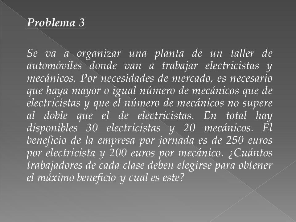 Problema 3 Se va a organizar una planta de un taller de automóviles donde van a trabajar electricistas y mecánicos. Por necesidades de mercado, es nec