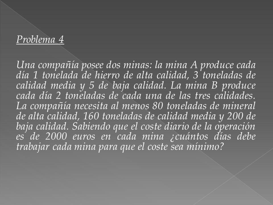 Problema 4 Una compañía posee dos minas: la mina A produce cada día 1 tonelada de hierro de alta calidad, 3 toneladas de calidad media y 5 de baja calidad.